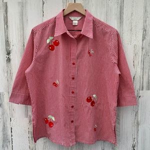 Vintage 90s Red Gingham Cherry Embroidered Top